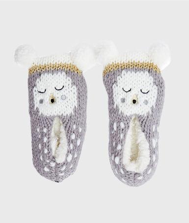 Non-slip knit socks grey.