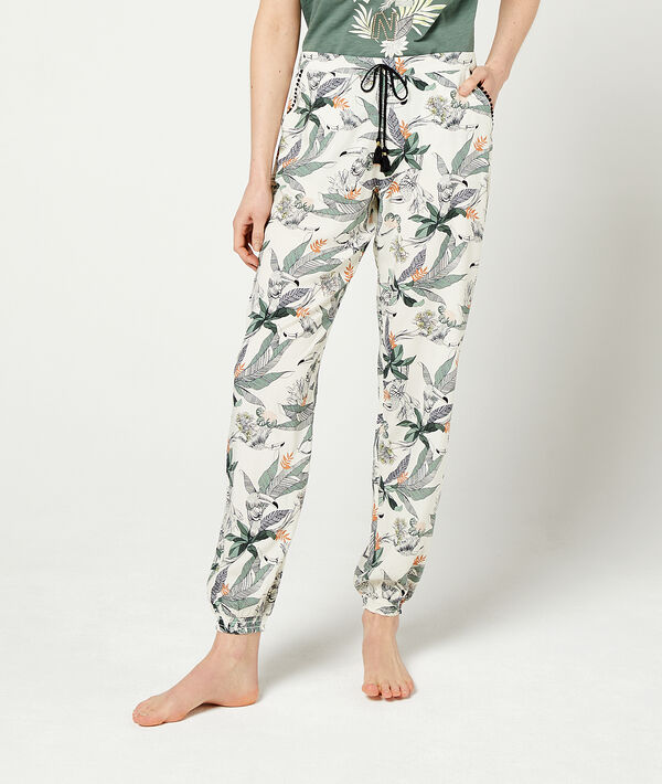 Trousers in a foliage print and tie detail;${refinementColor}