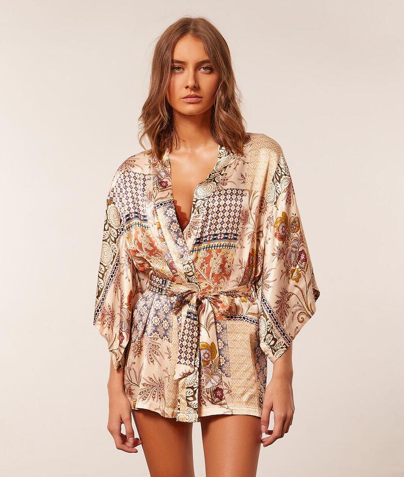 Print kimono robe ;${refinementColor}