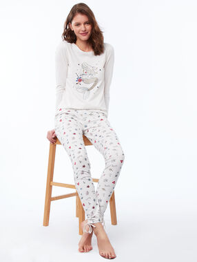 Printed trousers white.