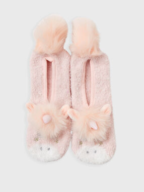 Flexible unicorn slippers pink.
