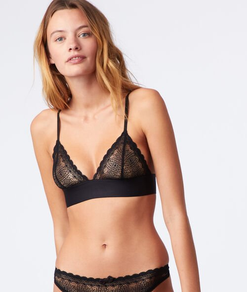 Non-wired triangle bra, racer back