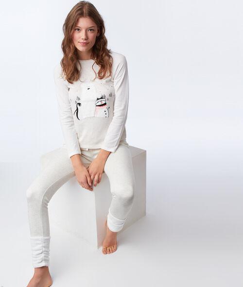 T-shirt with faux fur detailing