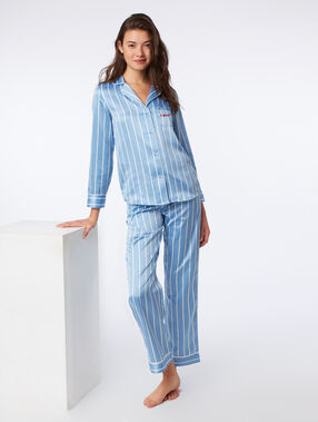 Satin stripe pyjama shirt blue.