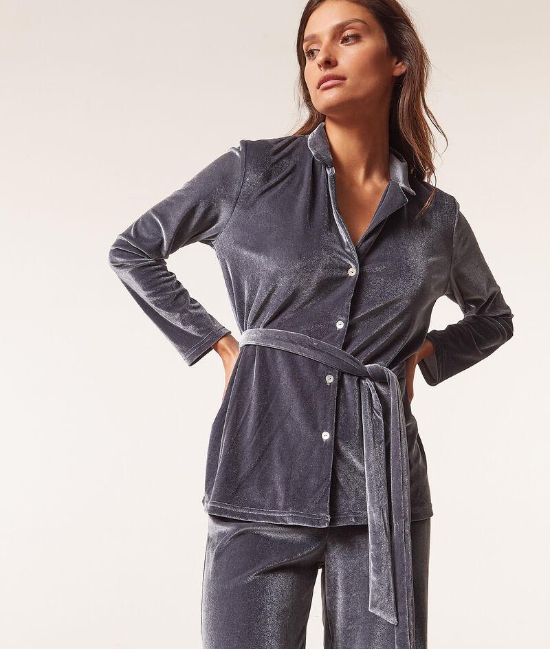 Velvet pyjama shirt with tie ;${refinementColor}