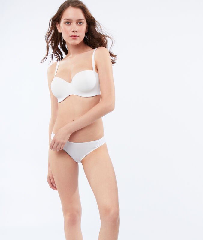Micro bandeau bra, removable straps, d cup white.