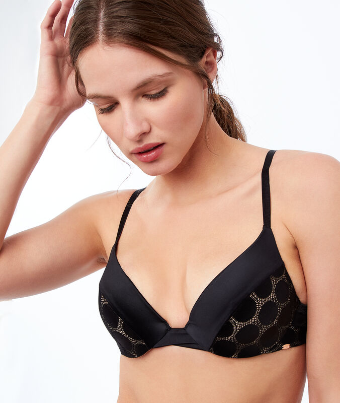 Bra no. 2 - microfiber plunging push-up bra black.