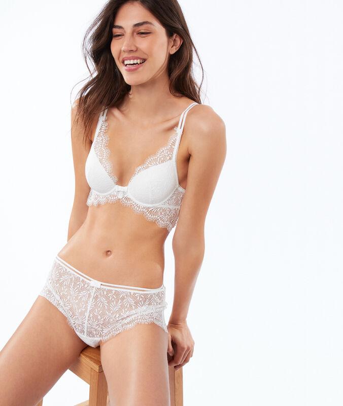 Bra no. 6 - lace padded bra with underbust band ecru.