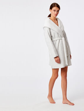 Hooded dressing gown grey.