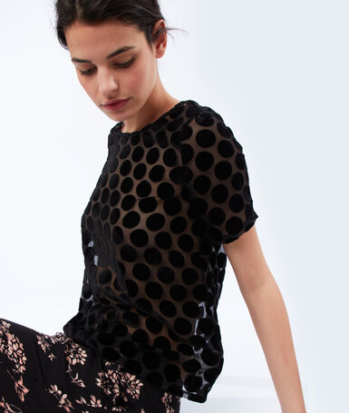 Velvet polka dot top black.
