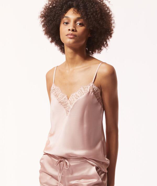 Satin camisole with lace neckline;${refinementColor}