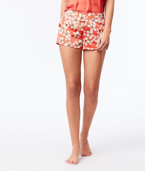 Floral satin pyjama shorts