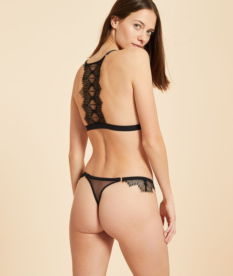 Non-wired tulle triangle bra with lace back;${refinementColor}