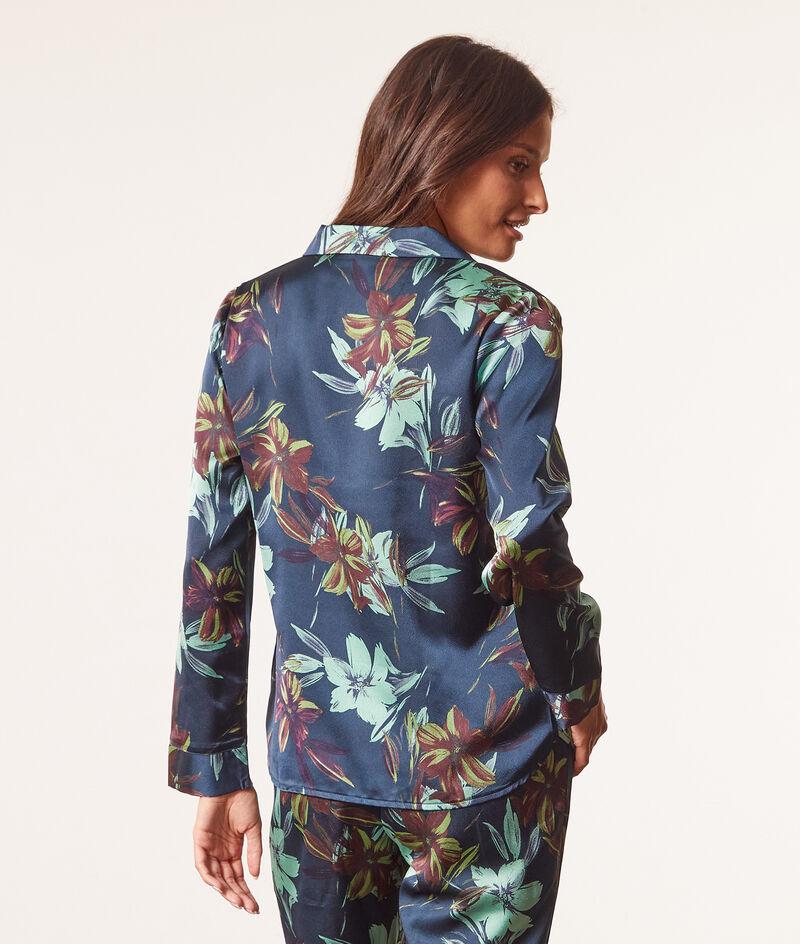 Printed satin pyjama shirt ;${refinementColor}