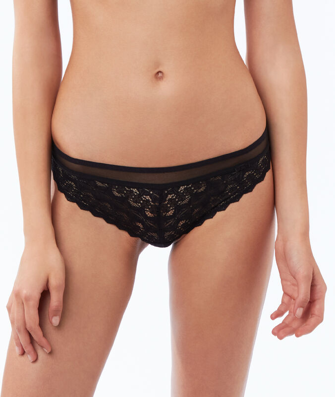 Lace and mesh briefs black.