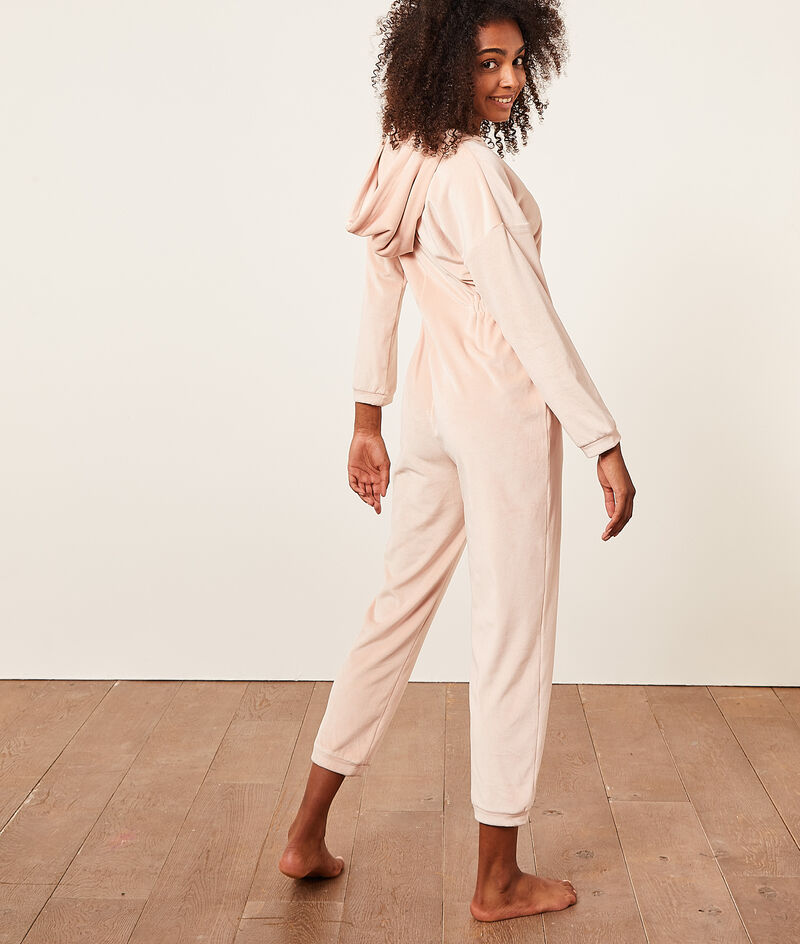 Long sleeve zipped jumpsuit;${refinementColor}