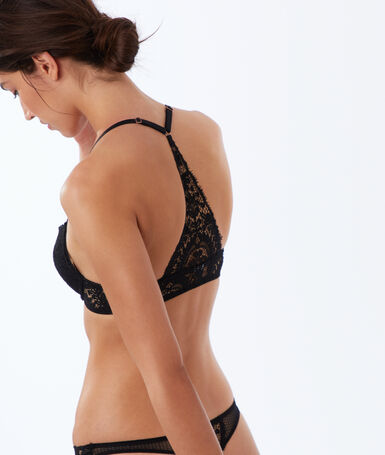 Bra no. 2 - lace plunging push-up, structured racer back black.