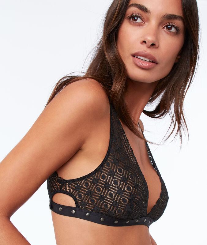 Bare-backed lace bra black.