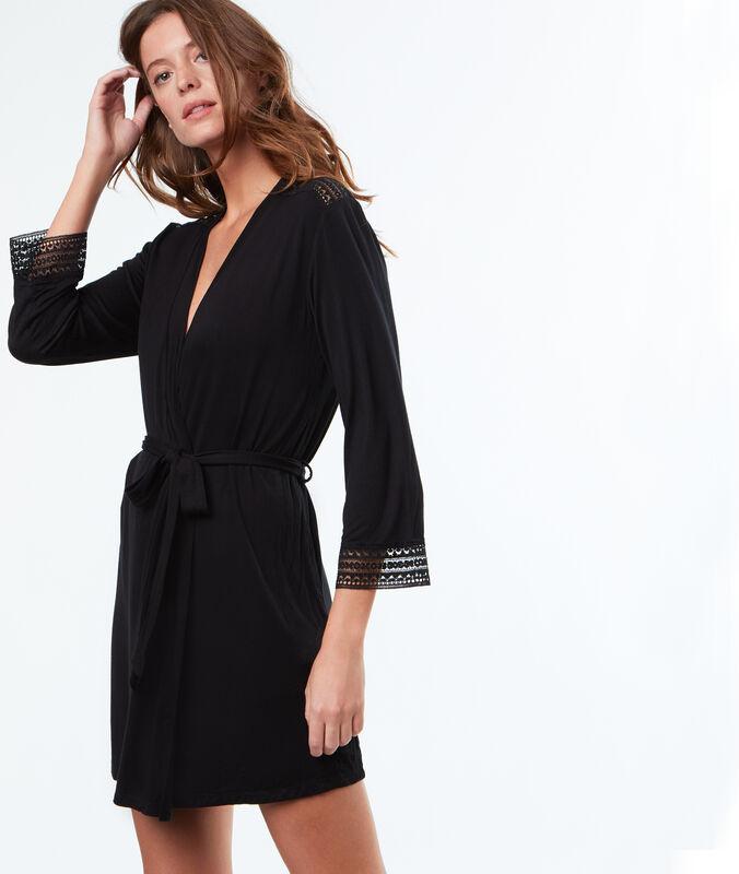 Flowing soft kimono negligée black.