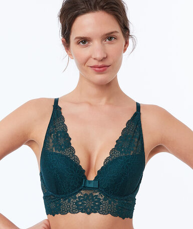 Bra no. 3 - lace triangle push-up bra with wide basque fir.