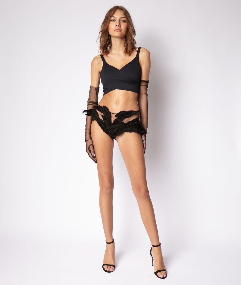 Non-wired wrap-over bra;${refinementColor}