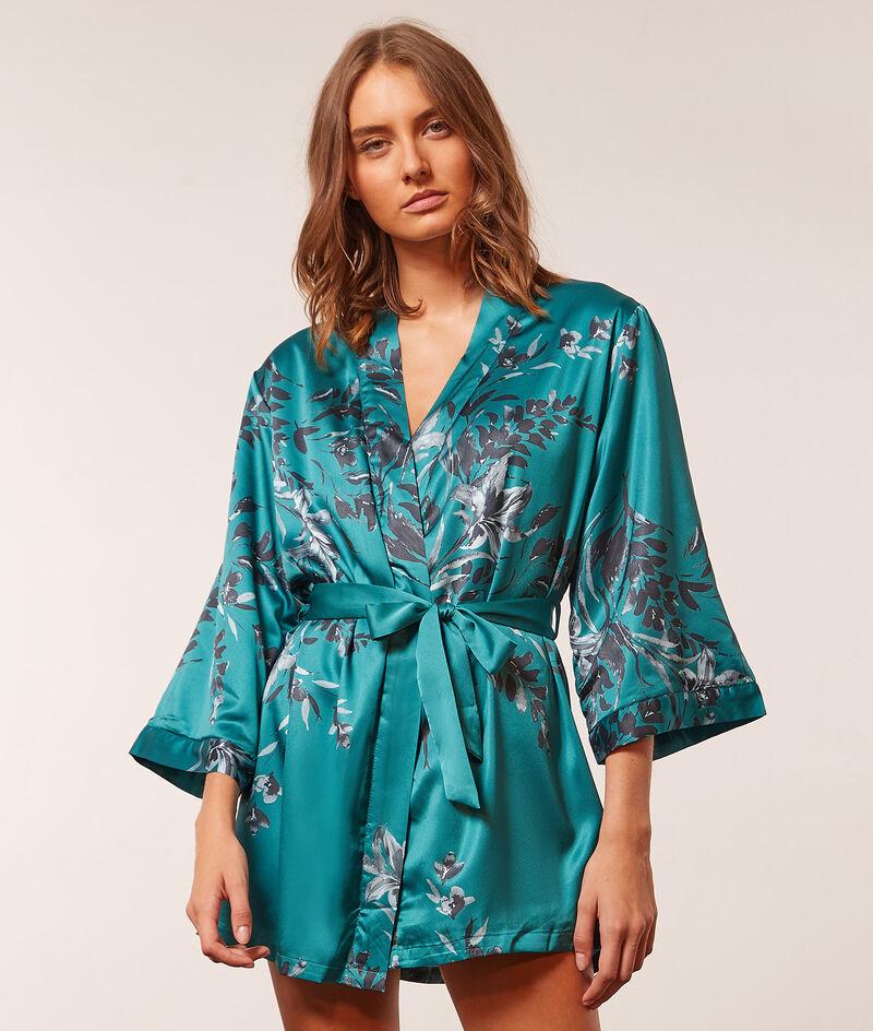 Printed satin kimono robe ;${refinementColor}