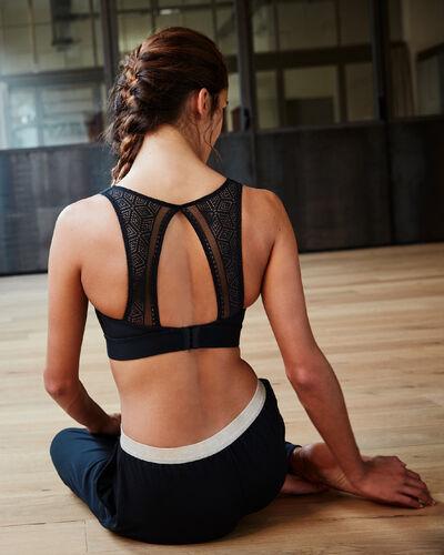 Sports bra, lace back - medium support black.