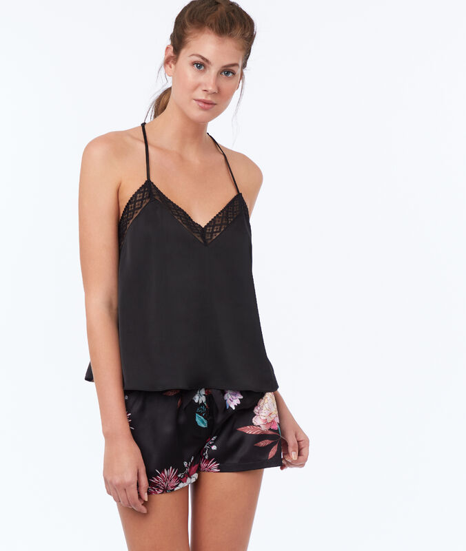 Printed satin shorts black.