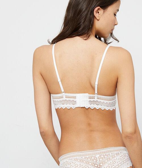 Graphic lace triangle bra