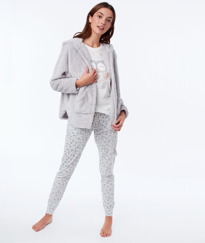 Three-piece owl print pyjama set gray.