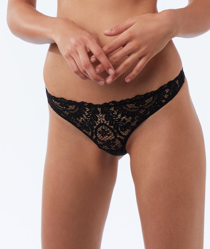 Mixed lace tanga black.