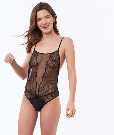 Tulle and lace bodysuit, bare back black.