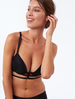 Bra no. 5 - classic padded bra with strappy detail black.