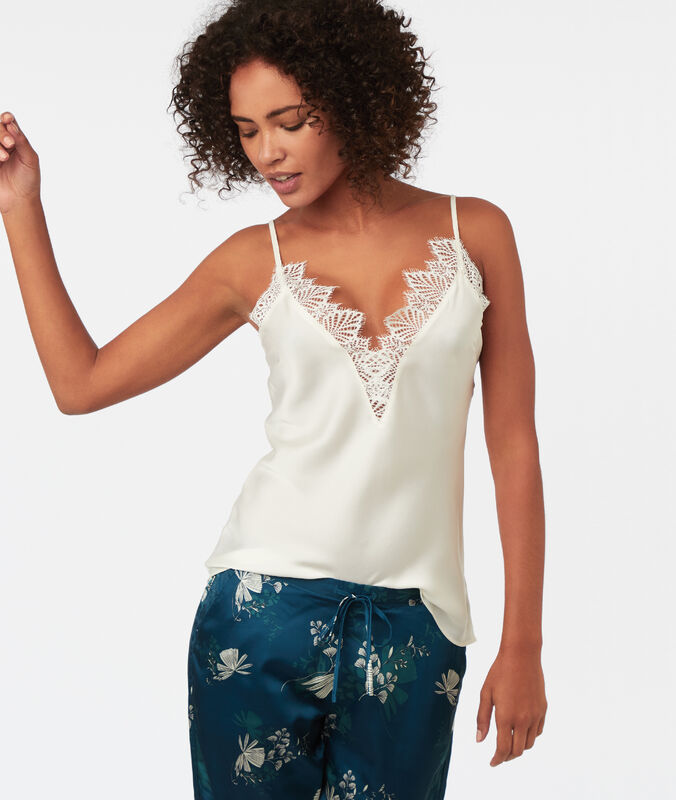 Lace neckline top ecru.
