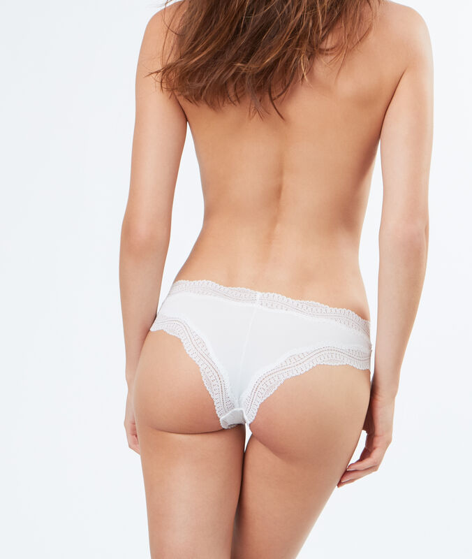 Ornate lace-edged hipsters white.