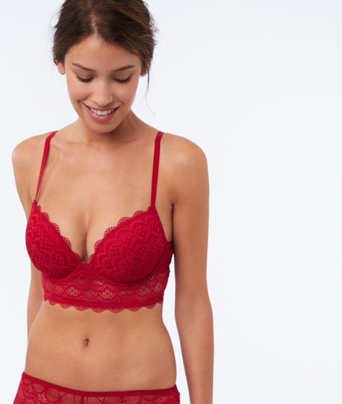 Bra n°5 - padded bra with guipure and basque red.