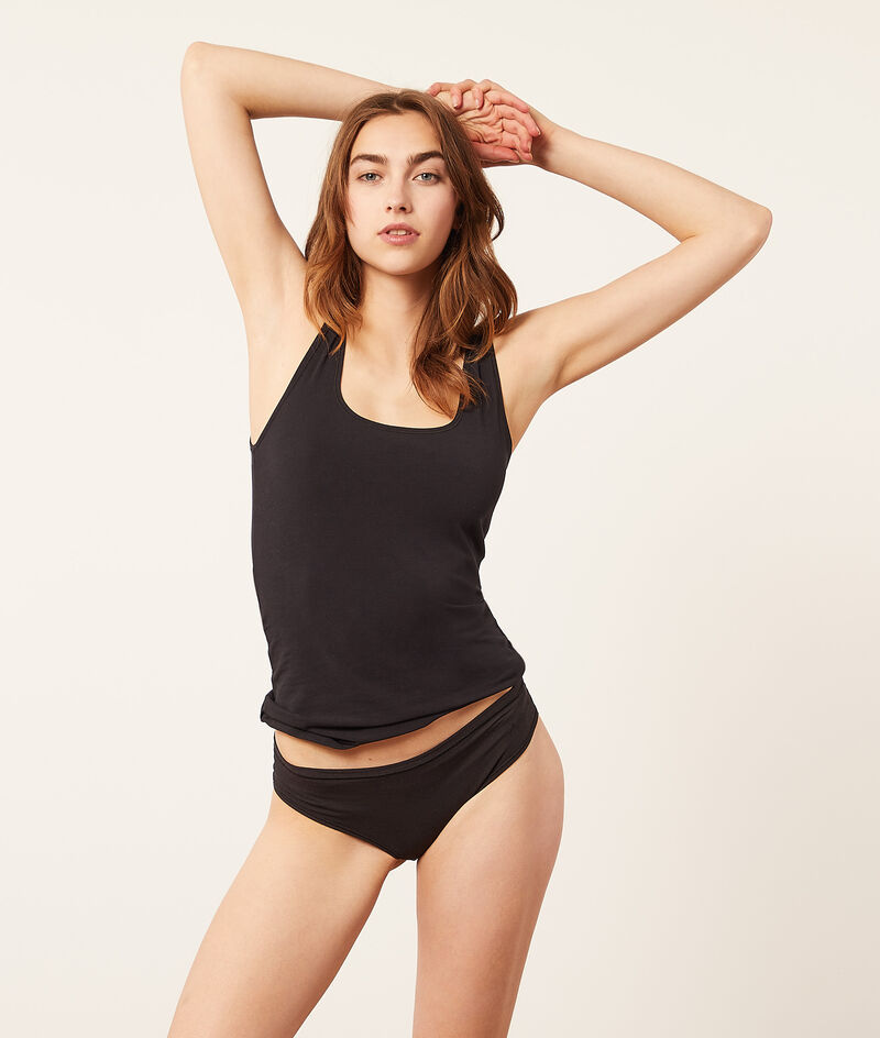 Stretchy organic cotton tank top;${refinementColor}
