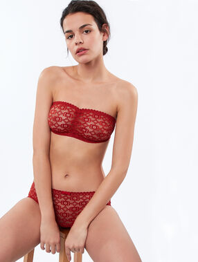 Graphic lace bandeau red brick.
