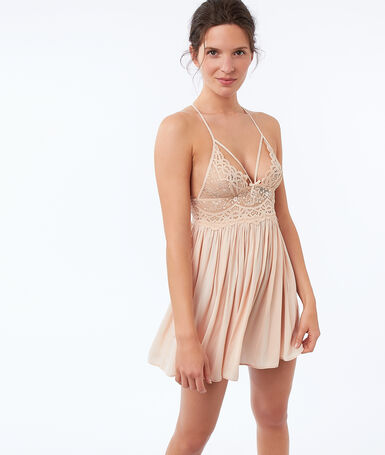 Lace nightdress with ties pink.
