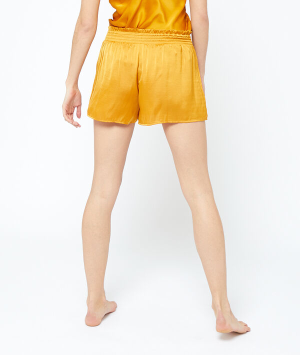 Satiny shorts with smocked pleated waist;${refinementColor}