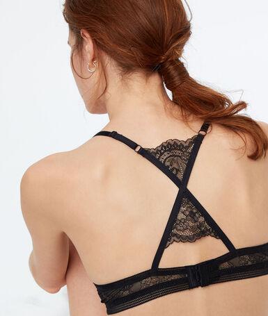 Racer-back push-up bra black.