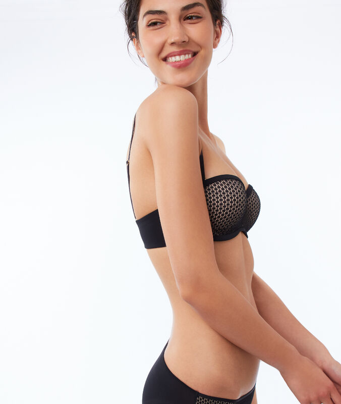 Contrasting push-up strapless bra black/skin.