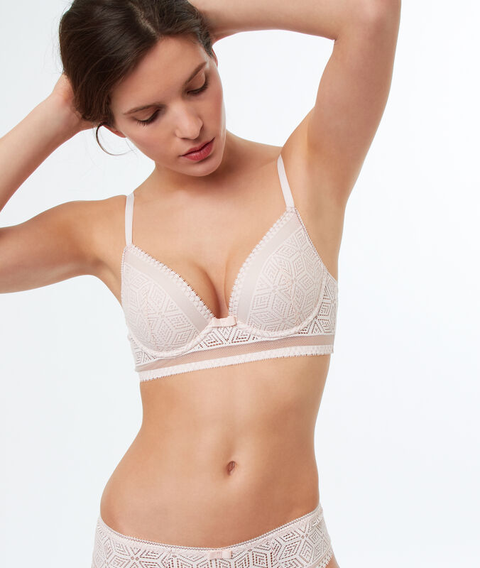 Lace push up bra with basque powder pink.