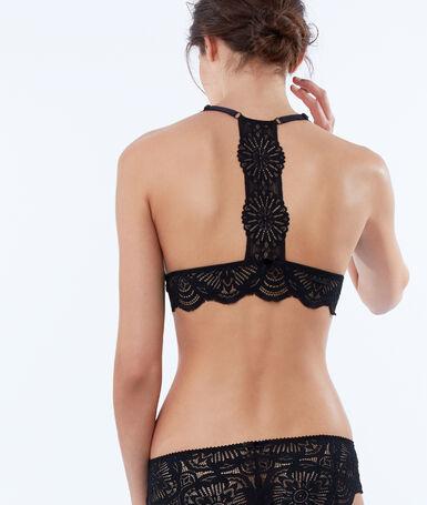 Lace triangle bra, rounded bra black.