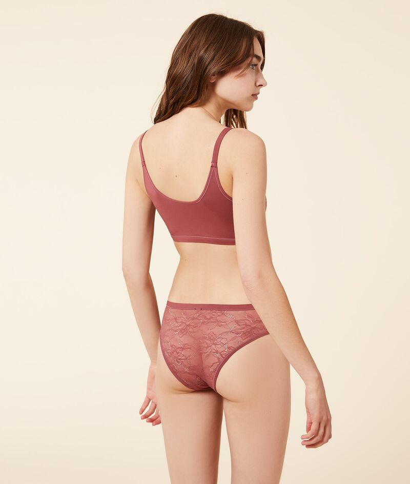 Lace and stretchy microfibre reversible bra ;${refinementColor}