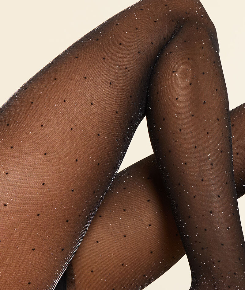 Iridescent feathered tights;${refinementColor}