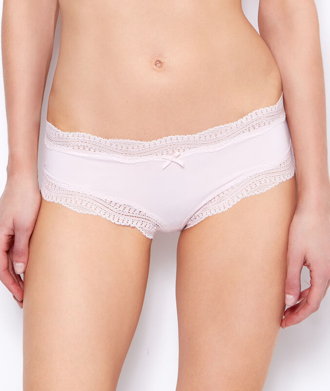 Ornate lace-edged shorts powder pink.