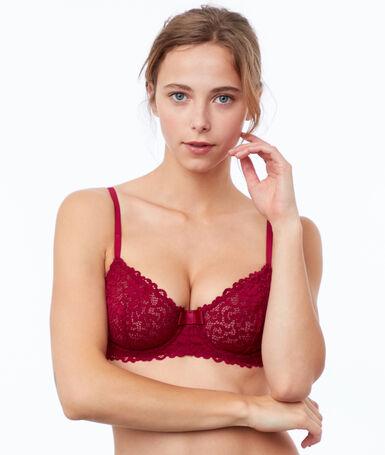 Lace bra, no padding plum.