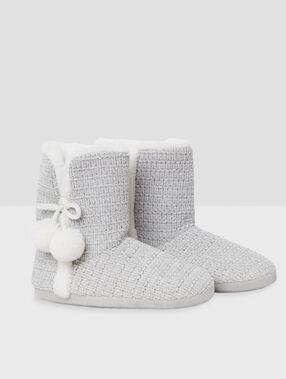 Boot slippers with tassels gray.
