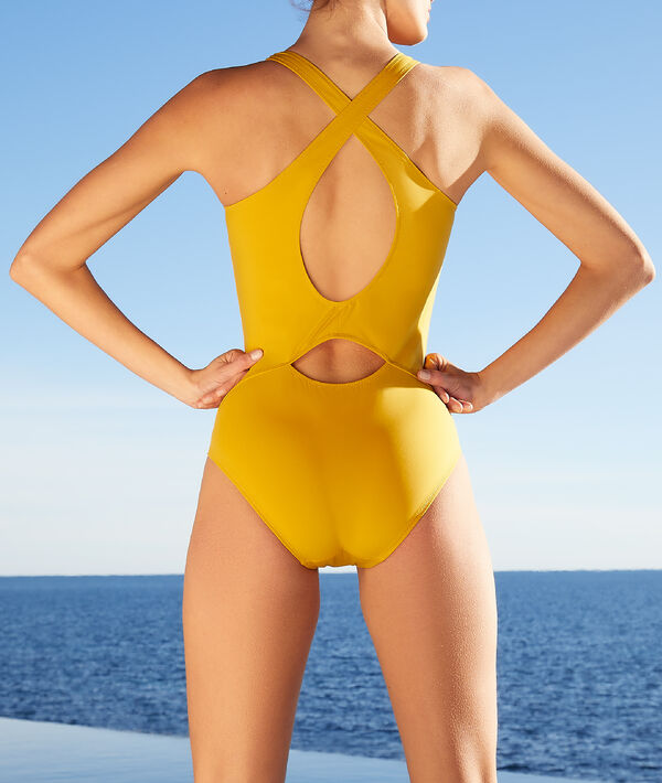 Cross-back one-piece sports swimsuit;${refinementColor}